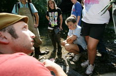 """My favorite part was learning about macro-invertebrates,"" said Emily Barriere, center, of Camillus Middle School. ""I loved it."""