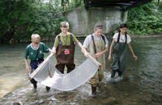 """""""It was pretty cool to observe Onondaga Creek and learn about the organisms that I never knew were there,"""" said Alycia Andolina, right."""