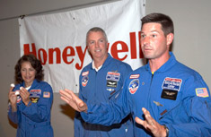 Recent Honeywell Educators @ Space Academy participants Sue Potrikus, Craig Dowler and Rick Chapman show the students experiments they learned at Space Academy.