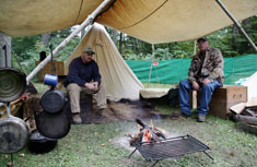A replica camp site was on display at Carpenter's Brook to depict a typical late 1800s hunting campground.