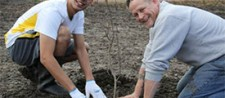 Community volunteers get their hands dirty and plant trees at Nine Mile Creek.