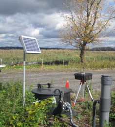 Solar-powered monitoring system.
