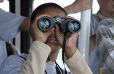 A student uses binoculars to examine Bald Eagles, Great Blue Herons and Belted Kingfishers in their natural habitat.