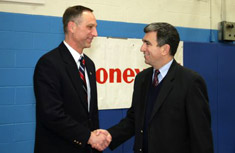 Assemblyman William Magnarelli thanks Honeywell for its donation to the Solvay-Geddes Community Youth Center.