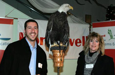 Salina Town Supervisor Mark Nicotra, County Legislator-elect Judy Tassone and Liberty the Bald Eagle were in attendance for the announcement of Honeywell Institute for Ecosystems Education.