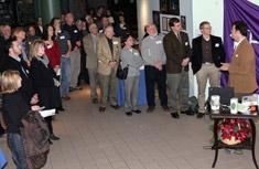Montezuma Audubon Center Director Frank Moses addresses local elected officials, community members, members of Onondaga Audubon Society and Montezuma Audubon Center, and friends of Onondaga Lake who joined Honeywell and Audubon in celebrating their education partnership.