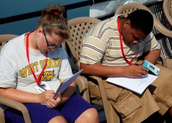 Students Record Their Observations during the Boat Tour of Onondaga Lake.
