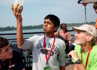 Dr. Peter Plumley and Honeywell Summer Science Week Students Examine the Water Quality of Onondaga Lake.