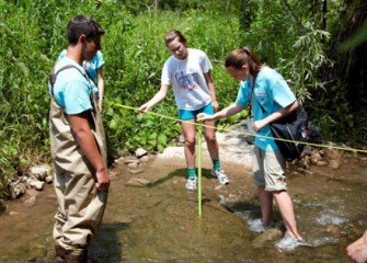 Middle School Students Work Together to Conduct a Stream Profile on Onondaga Creek.