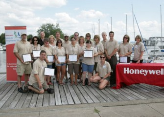 Fifteen Onondaga County Teachers with their Certificates for Completing the Honeywell Institute for Ecosystems Education Professional Development Program