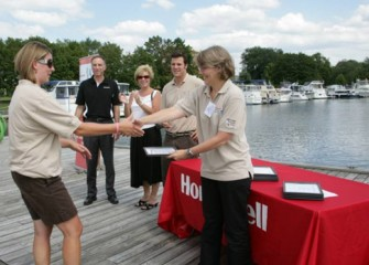 Left to Right: Honeywell Syracuse Program Director John McAuliffe, Onondaga County Legislator Kathy Rapp, Director of Montezuma Audubon Center Frank Moses, and Education Manager of Montezuma Audubon Center Carol Stokes-Cawley, Congratulates Teachers on Completion of Honeywell Institute for Ecosystems Education