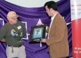 Frank Moses Presents Bald Eagle Specialist Mike Allen with a Recognition Plaque for his Work with Bald Eagles