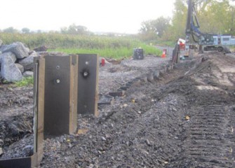Phase III of the barrier wall in the vicinity of Harbor Brook.