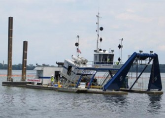 Dredging operations continue 24 hours per day.