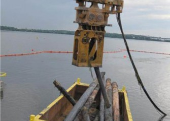 Old pilings removed from lake