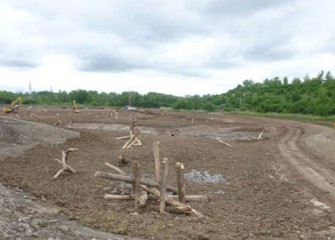 Timbers are placed in deeper wetland areas before the water is returned