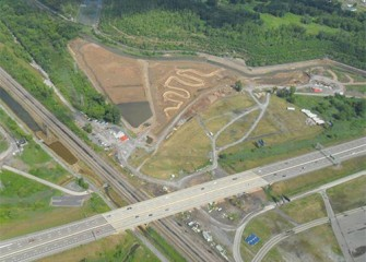 The new meandering Geddes Brook channel seen from the air