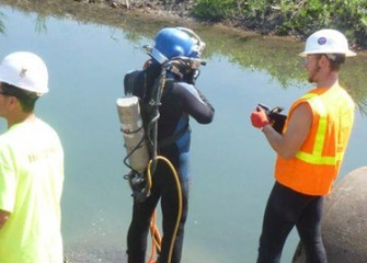 Diver prepares for final inspections