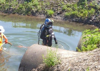 Diver collects samples for analysis