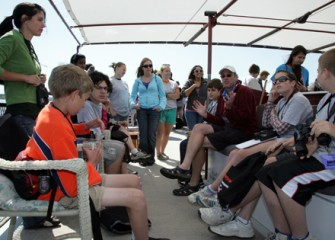 SUNY-ESF Distinguished Professor Charlie Driscoll Speaks to Students on the Summer Science Week Boat Tour
