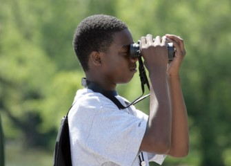 Students Use Binoculars to Observe Native Birds on and around Onondaga Lake