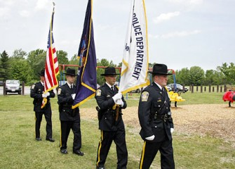 Camillus Police Department Color Guard Present the American Flag