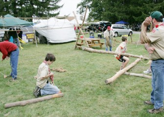 Boy Scouts Build a Small Ropes Course