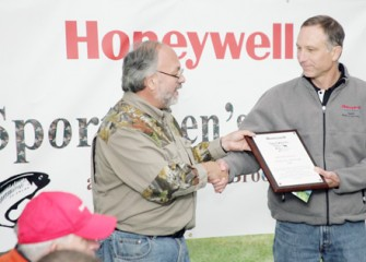 Onondaga County Federation of Sportsmen's Clubs President Steve Wowelko Thanks Honeywell Syracuse Program Director John McAuliffe