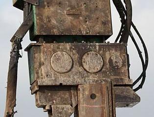 Vibratory Hammer Atop Steel Panel