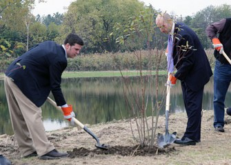 Moses and Senator John DeFrancisco Representative Joe Burns Plant Tree