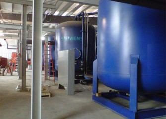 Water treatment tanks (carbon filters) are installed