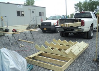 Materials arrive to construct a multi-use dock at Nine Mile Creek.