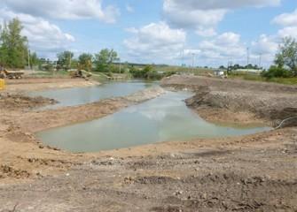 Pools in the floodplain at future Nine Mile Creek wetlands.