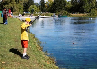 Participants enjoyed a variety of outdoor activities at the 2012 Honeywell Sportsmen's Days at Carpenter's Brook. Above: Connor Moore, of Camillus, N.Y., fishes for trout.