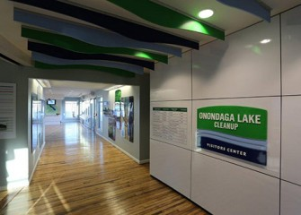 The Onondaga Lake Visitors Center was built to provide the public with access to the significant work taking place by hundreds of scientists, engineers, and skilled craft laborers from this region.