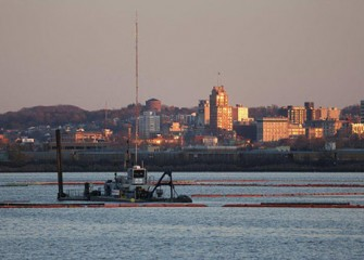 View of lake dredging operations from the Onondaga Lake Visitors Center.