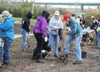 Volunteers plant native shrubs and trees to enhance habitat at Nine Mile Creek.