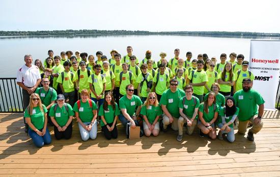 2019 Honeywell Summer Science Week participants at Onondaga Lake
