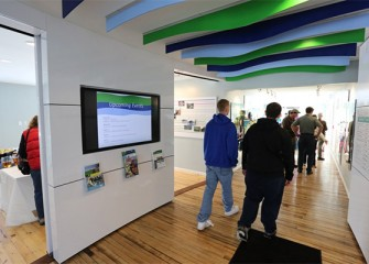 "Participants gather at the Onondaga Lake Visitors Center for an Onondaga Lake Conservation Corps ""Citizen Science"" Event."