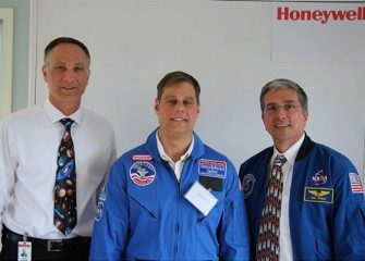 Scott Daley, Technology Teacher at Frazer K-8 School (Syracuse), center, is one of 11 Central New York middle school teachers becoming a Honeywell Educator @ Space Academy this summer.