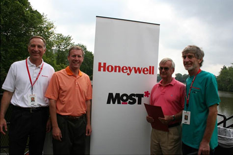 (Left to right) Honeywell Program Director John McAuliffe, New York State Senator David J. Valesky, President of the MOST Larry Leatherman, and MOST Exhibits Project Manager Dr. Peter Plumley at Opening Day.