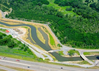 Aerial view of Nine Mile Creek and the newly-established wetlands.