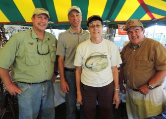 Left to right: Bill Lansley, Onondaga County Parks Commissioner; John McAuliffe, Honeywell Syracuse Program Director; Jackie Sadowski and Ray Besecker, Board Members of Friends of Carpenter's Brook Fish Hatchery.