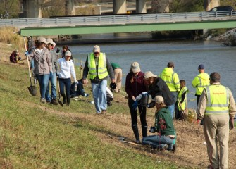 Participants spread out along a section of Nine Mile Creek to place new trees and shrubs.