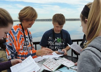 Nearly 100 seventh-graders from Pine Grove Middle School in East Syracuse visit the Onondaga Lake Visitors Center as part of a project studying the Onondaga Lake cleanup.