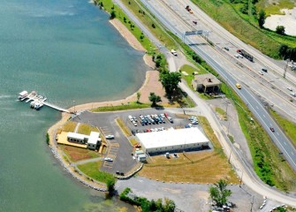 The Onondaga Lake Visitors Center (middle left), off Exit 7 on I-690, was built by Honeywell to provide the public with access to the significant work taking place on the lake cleanup.