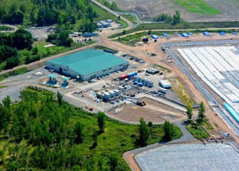 Debris is removed in the processing area (middle) before lake material is piped to the consolidation area for long term isolation. Water collected in the consolidation area is piped to the water treatment plant for treatment.