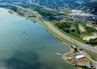 Work continues on the Onondaga Lake cleanup. I-690 runs along the southwest shoreline of Onondaga Lake.