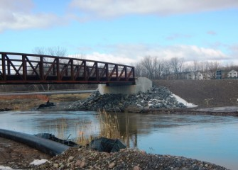 The foot bridge over Nine Mile Creek, part of Onondaga County's west shore recreational trail expansion, is complete.