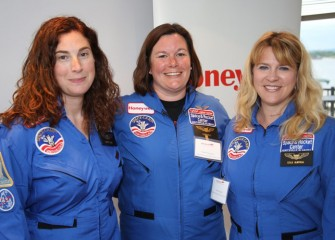 New Honeywell Educators Carolyn Scott (left) and Leslie Almstead (right) pose with Space Academy alumna Pamela Herrington (center, Class of 2013).  All three teach in the East Syracuse Minoa Central School District.